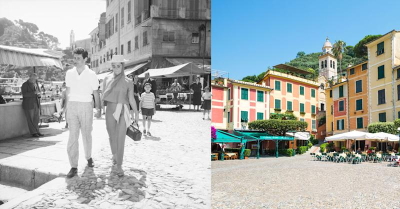 Eddie Fisher and Elizabeth Taylor stroll hand in hand in the market place at the piazza, still as glamorous as it was 50 years ago.