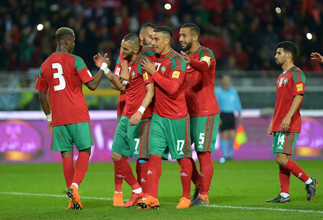 Soccer Football - International Friendly - Serbia vs Morocco - Stadio Olimpico Grande Torino, Turin, Italy - March 23, 2018 Morocco's Hakim Ziyech celebrates scoring their first goal with team mates REUTERS/Massimo Pinca