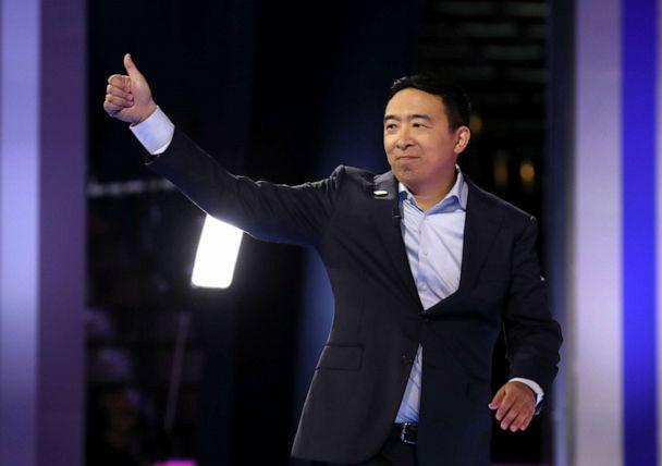 PHOTO: Democratic presidential candidate Andrew Yang is introduced before the Democratic Presidential Debate at Texas Southern University's Health and PE Center on Sept. 12, 2019, in Houston. (Justin Sullivan/Getty Images)