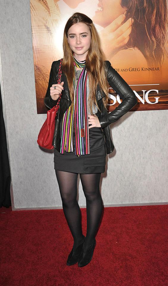 "<a href=""http://movies.yahoo.com/movie/contributor/1808953432"">Lily Collins</a> at the Los Angeles premiere of <a href=""http://movies.yahoo.com/movie/1810098775/info"">The Last Song</a> - 03/25/2010"