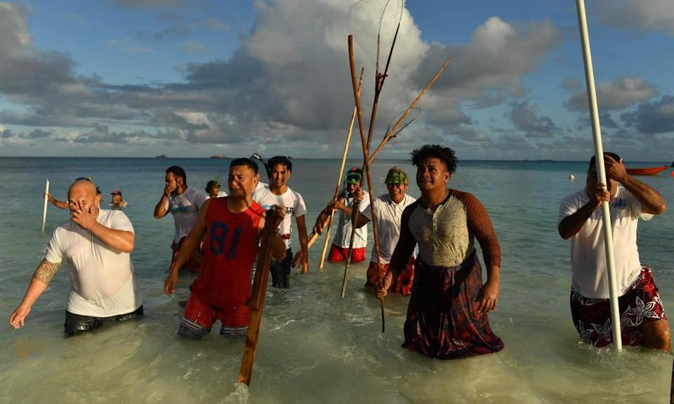 Fishing, south Pacific style, in Tuvalu