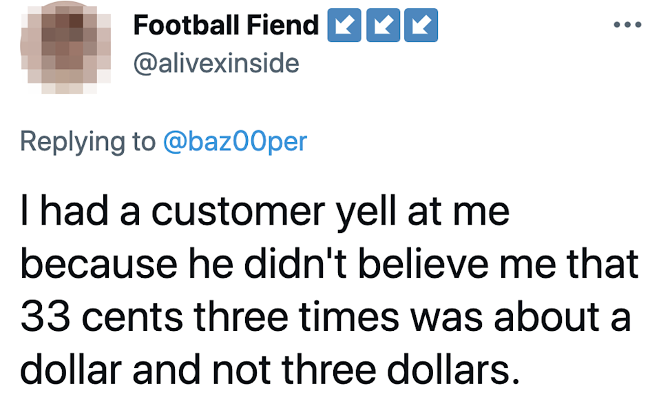 tweet about a customer not being able to multiply