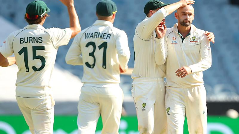 Nathan Lyon, pictured here celebrating the wicket of Mitchell Santner.