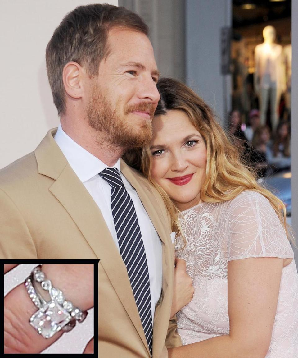 <p>Drew Barrymore's art-consultant boyfriend, Will Kopelman, proposed in 2012 while vacationing in Sun Valley, Idaho, with a nearly 4-carat radiant-cut ring by Graff Diamonds. The couple married later that year.</p>