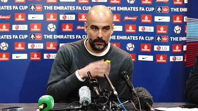 Pep Guardiola tells reporters of his disappointment to losing Fabian Delph to suspension following his red card at Wigan Athletic in the FA Cup.