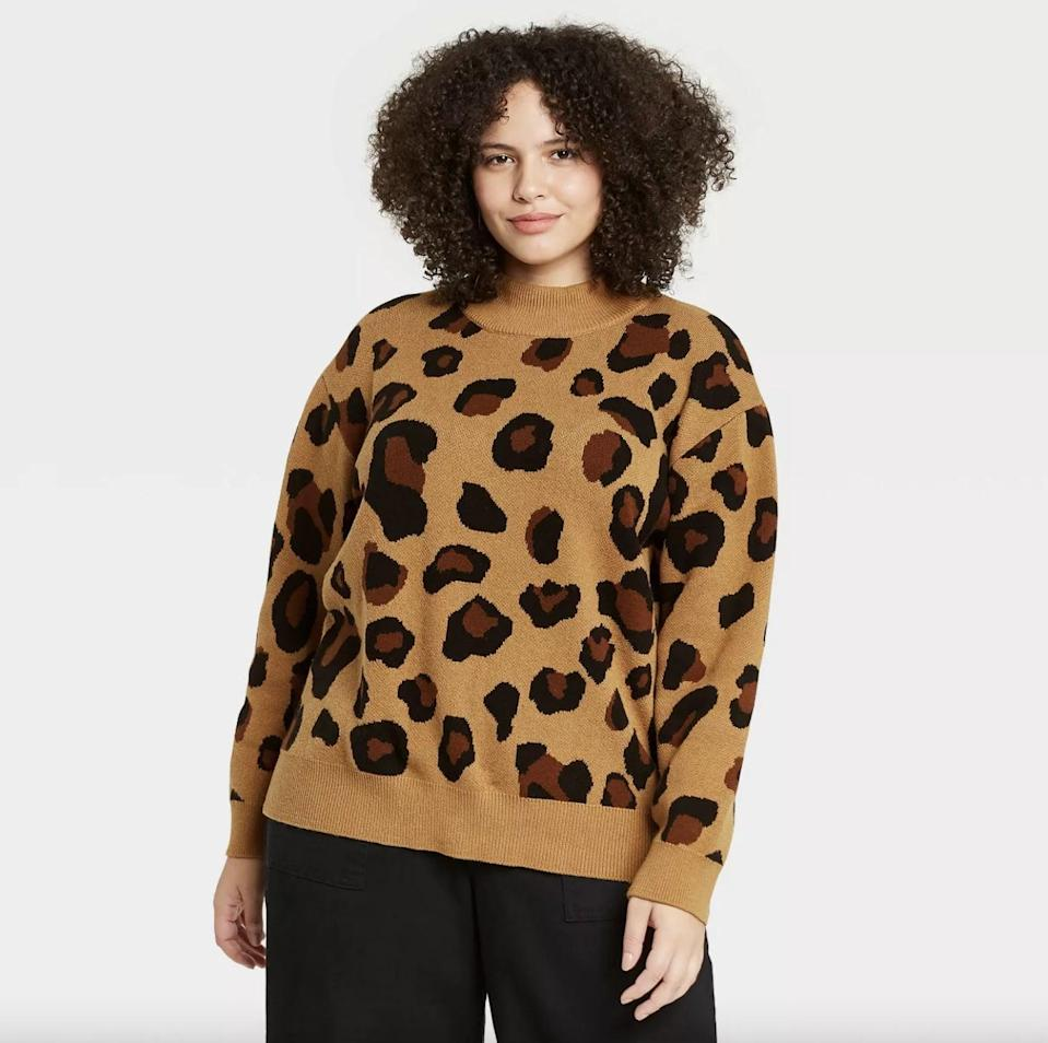 <p>This <span>Who What Wear Leopard Print Turtleneck Pullover Sweater</span> ($28) has a slouchy yet comfortable and put-together fit.</p>
