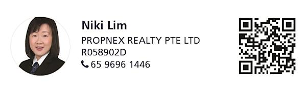 Marketing agent photograph and contact details (Niki Lim | 65 9696 1446)