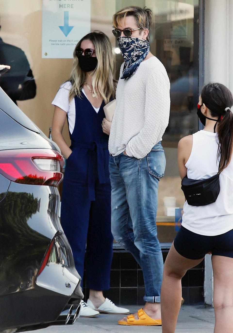 <p>Chris Pine and Annabelle Wallis head out for coffee in L.A. on Saturday. </p>