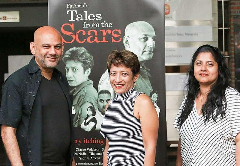 (From left) Actors Chacko Vadaketh, Sharmila Kana, and director Fa Abdul will be joining their creative forces for 'Tales from the Scars.' — Picture by Choo Choy May