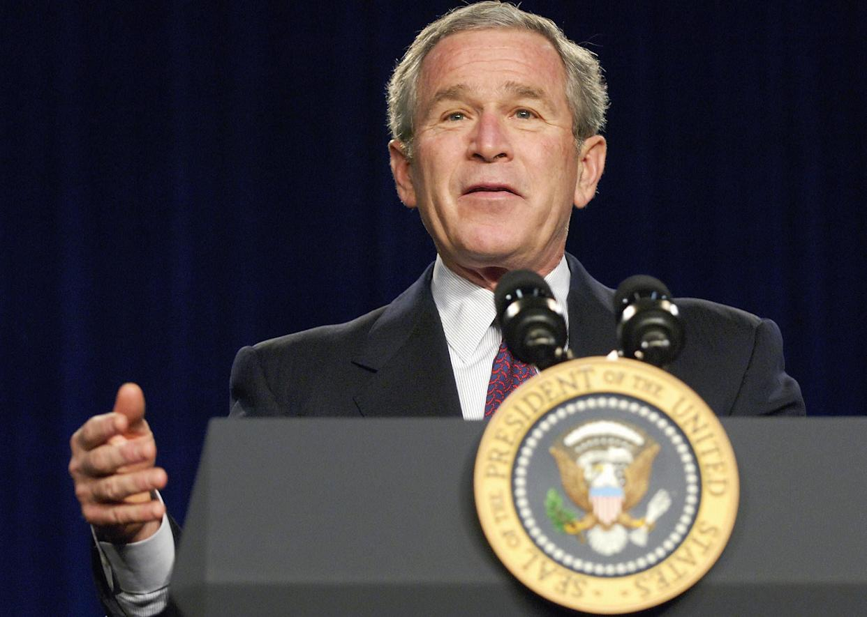 """<strong>""""Our most abundant energy source is coal. We have enough coal to last for 250 years, yet coal also prevents an environmental challenge."""" </strong> -- April 20, 2005, in Washington. <a href=""""http://www.huffingtonpost.com/2009/01/03/bushisms-over-the-years_n_154969.html"""" rel=""""nofollow noopener"""" target=""""_blank"""" data-ylk=""""slk:Source: The Associated Press"""" class=""""link rapid-noclick-resp"""">Source: The Associated Press</a> (MANDEL NGAN/AFP/Getty Images)"""