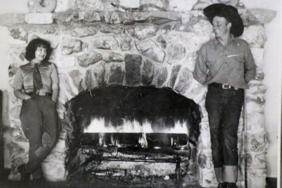 Clara Bow and Rex Bell at the Walking Box Ranch in the Mojave Desert.
