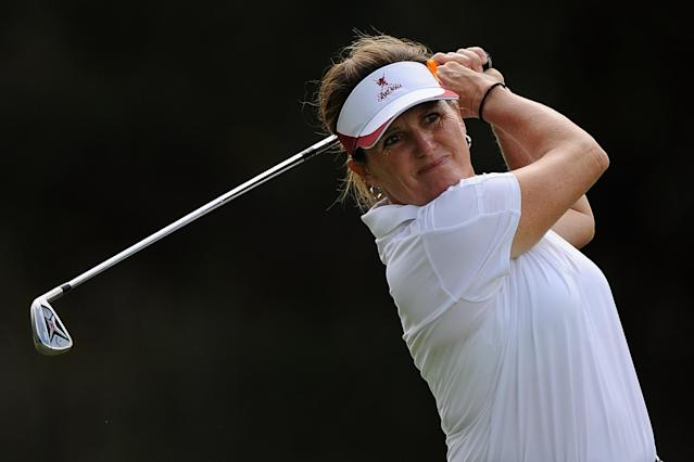 GOLD COAST, AUSTRALIA - FEBRUARY 07: Lorie Kane of Canada plays an approach shot on the 15th hole during day two of the 2014 Ladies Masters at Royal Pines Resort on February 7, 2014 on the Gold Coast, Australia. (Photo by Matt Roberts/Getty Images)