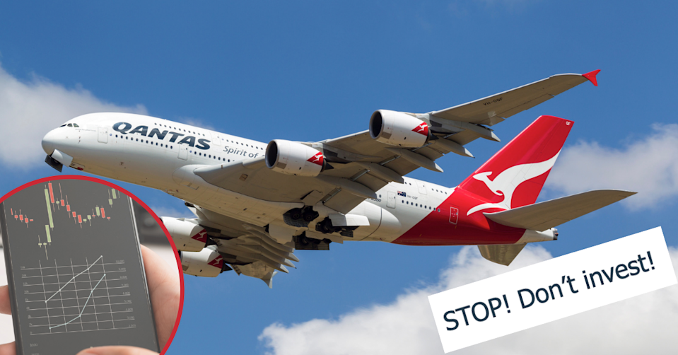 Stock price fluctuations on a phone. A Qantas plane in the sky. ASIC warning 'STOP! Don't Invest'.