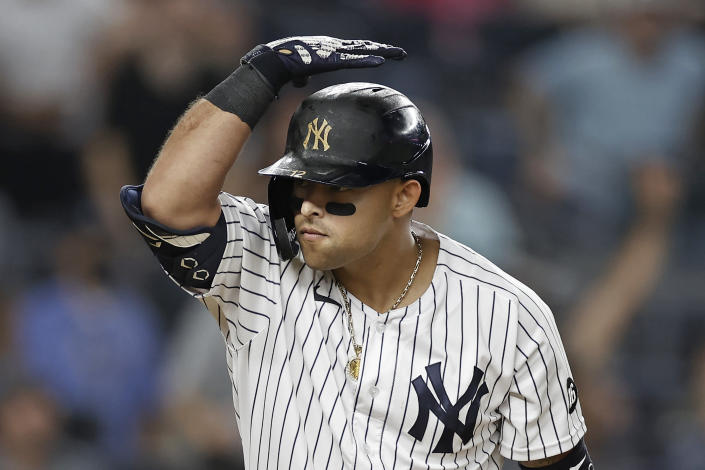 New York Yankees' Rougned Odor reacts after hitting a two-run home run against the Philadelphia Phillies during the seventh inning of a baseball game Wednesday, July 21, 2021, in New York. (AP Photo/Adam Hunger)