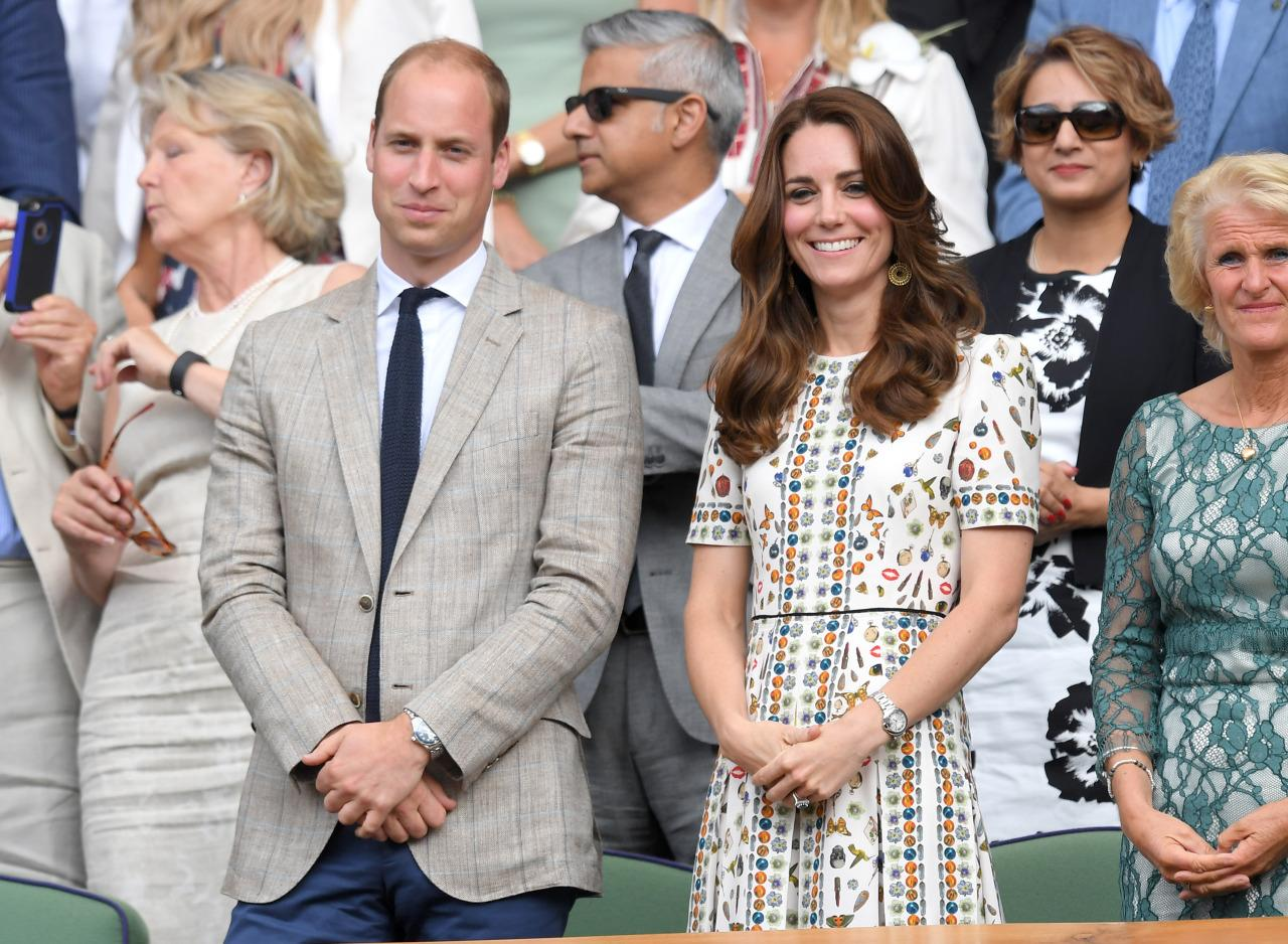 <p>To watch Andy Murray defeat between Milos Raonic at the Wimbledon Men's Final of the Wimbledon Tennis Championships, the Duchess of Cambridge wore one of her coolest dresses to date. From Alexander McQueen's Pre-Fall '16 collection, the fun patterned look is covered in butterflies, bugs, and polka dots. <i>(Photo: Getty Images)</i></p>