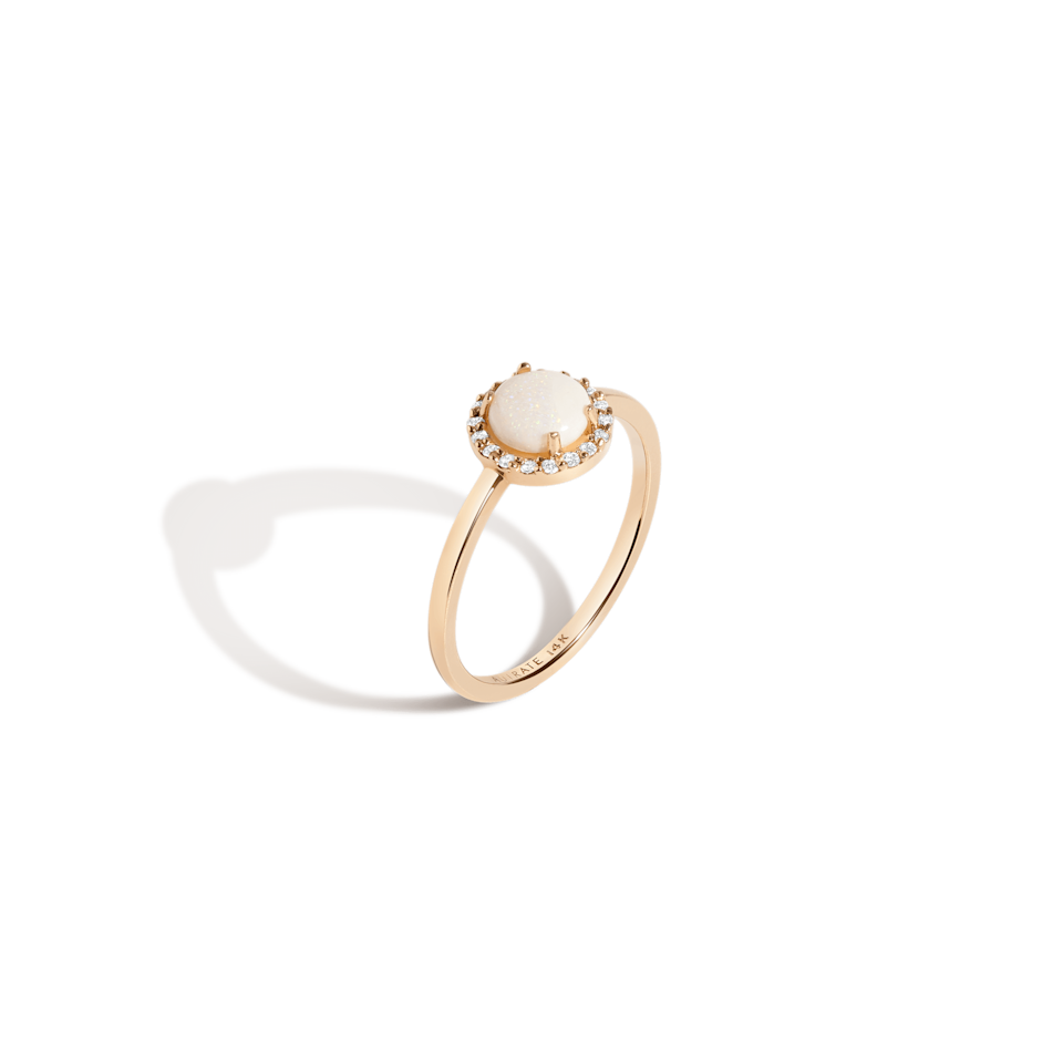 """<br><br><strong>Aurate</strong> Halo Diamond Opal Ring, $, available at <a href=""""https://go.skimresources.com/?id=30283X879131&url=https%3A%2F%2Fauratenewyork.com%2Fproducts%2Fhalo-diamond-opal-ring"""" rel=""""nofollow noopener"""" target=""""_blank"""" data-ylk=""""slk:Aurate"""" class=""""link rapid-noclick-resp"""">Aurate</a>"""
