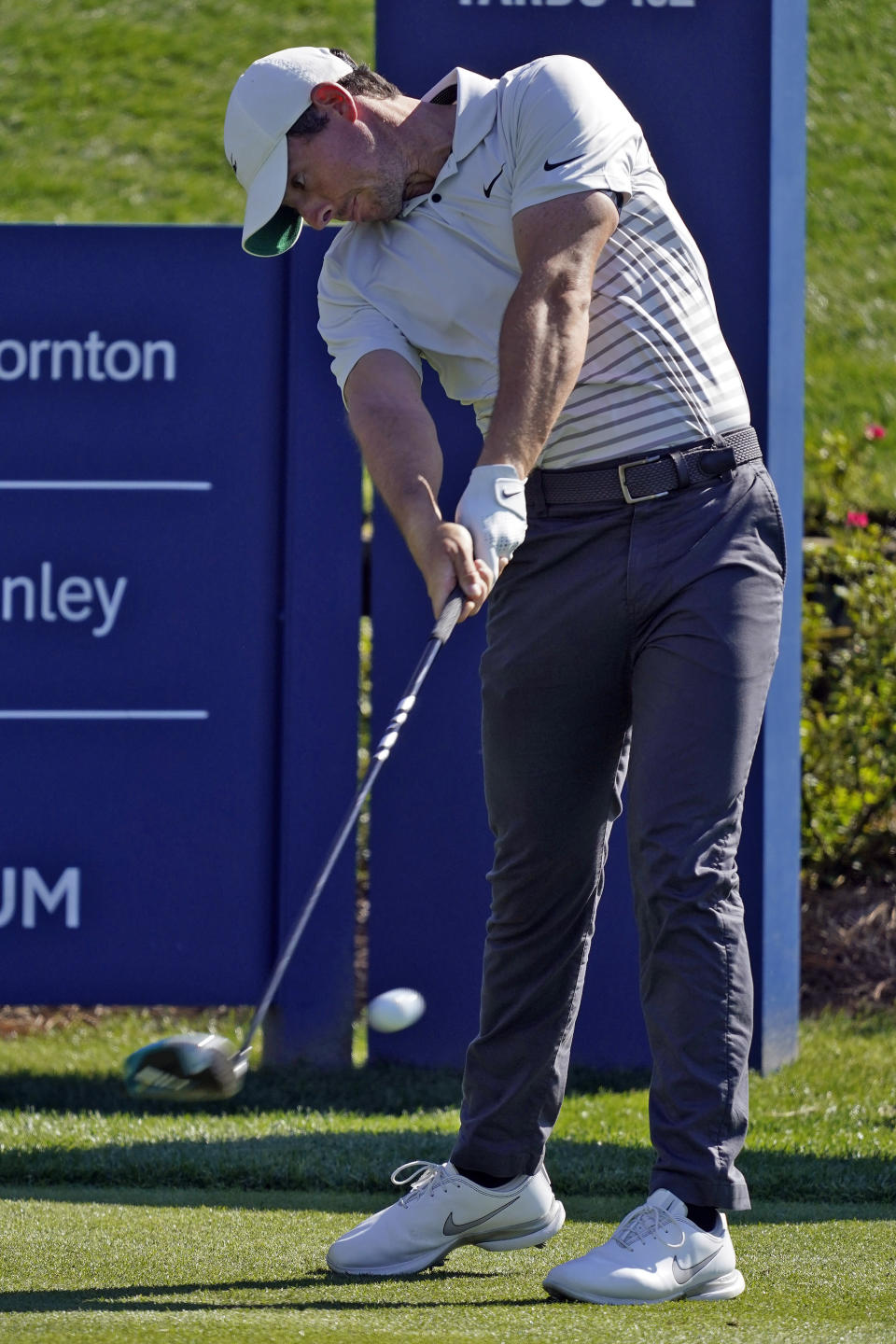Rory McIlroy, of Nothern Ireland, tees off on the 18th hole during a practice round for The Players Championship golf tournament Wednesday, March 10, 2021, in Ponte Vedra Beach, Fla. (AP Photo/Chris O'Meara)