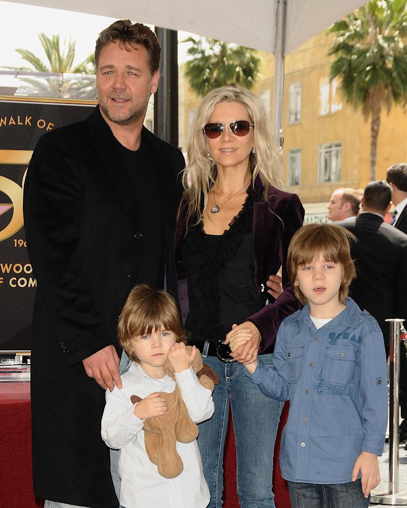 Actor Russell Crowe, his wife, Danielle Spencer and sons Tennyson Spencer Crowe and Charles Spencer Crowe attend Russell Crowe's induction at Hollywood Walk Of Fame on April 12, 2010 in Hollywood, California.