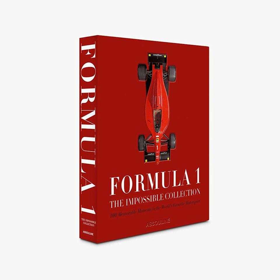 """$995, ASSOULINE. <a href=""""https://www.assouline.com/products/formula-1-the-impossible-collection"""" rel=""""nofollow noopener"""" target=""""_blank"""" data-ylk=""""slk:Buy Now"""" class=""""link rapid-noclick-resp"""">Buy Now</a><br>"""