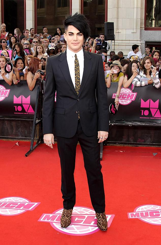 """""""Idol"""" alum Adam Lambert accessorized his rather sober black suit with a leopard-print tie and boots. Fierce. George Pimentel/<a href=""""http://www.wireimage.com"""" target=""""new"""">WireImage.com</a> - June 20, 2010"""