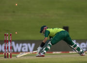 Pakistan's batsman Mohammad Rizwan is stumped for a duck by South Africa's bowler Bjorn Fortuin for a duck during the fourth and final T20 cricket match between South Africa and Pakistan at Centurion Park in Pretoria, South Africa, Friday, April 16, 2021. (AP Photo/Themba Hadebe)