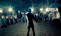 """<p><b>This Season's Theme: </b> """"It's a shift in control and a shift in power,"""" says executive producer and director Greg Nicotero. """"The idea that we left our group at the end of last season completely powerless. It's a place you're not accustomed to seeing the good guys end up in. We're watching everybody deal with the repercussions of the [season premiere] and how that episode and how the events of that episode change people, while Negan is strutting his stuff.""""<br><br><b>Where We Left Off:</b> The semicircle of doom, which will end with one – possibly more – of our favorite characters decimated by a vicious fatal beating from Negan and his barbed wire-covered baseball bat. <br><br><b>Coming Up:</b> What we've all been waiting for, and dreading, since that Season 6 finale in April, and the season premiere will answer definitely who Negan kills. The twist, Nicotero says, is that, unlike any other villain in <i>The Walking Dead</i> comics or TV series, Negan (Jeffrey Dean Morgan) isn't going to be so easy to hate. """"What I love about what Jeffrey brings to the role is the charisma and charm that takes it to a different place,"""" Nicotero says. """"When Jeffrey smiles, it's an inviting smile. That's a smile of somebody that you want to have a beer with, somebody that you want to share a joke with, someone that you want to be friends with."""" Besides, it's not like Negan's attack is unprovoked. """"Looking at Rick and looking at the things Rick has done … in [""""Not Tomorrow Yet""""], they waged an attack on one of Negan's outposts and killed like 25 people in their sleep,"""" Nicotero says. """"That's a pretty bold and a pretty brutal move. '"""" <br><br><b>Apocalyptic Levity:</b> Nicotero's not promising a repeat of Rick and Daryl's """"Butch and Sundance"""" adventure from Season 6's """"The Next World,"""" but he does say there will be some inherent lightness – much needed in the dark first half of Season 7 – with the introduction of comic book character Ezekiel and his pet tiger, Shiva. """"The episode"""