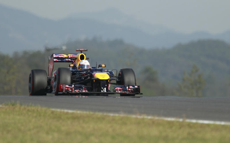 Red Bull driver Sebastian Vettel of Germany steers his car during the second practice session for the Korean Formula One Grand Prix at the Korean International Circuit in Yeongam, South Korea, Friday, Oct. 12, 2012. (AP Photo/Wally Santana)