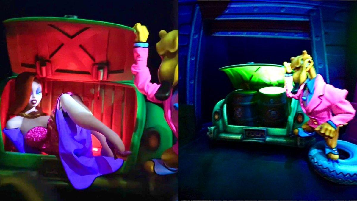Jessica Rabbit no loner appears trapped in a car at the start of the ride. (Disney)