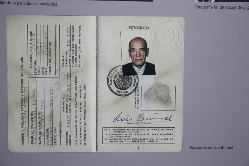 """In this Aug. 1, 2013 photo, the passport of Spanish filmmaker Luis Bunuel hangs at an exhibit inside the """"Casa Bunuel"""" in Mexico City. The plan is to turn the building into a meeting place for Spanish and Mexican moviemakers, with workshops and occasional exhibits staged to celebrate Spanish-language cinema. (AP Photo/Gabriela Sanchez)"""