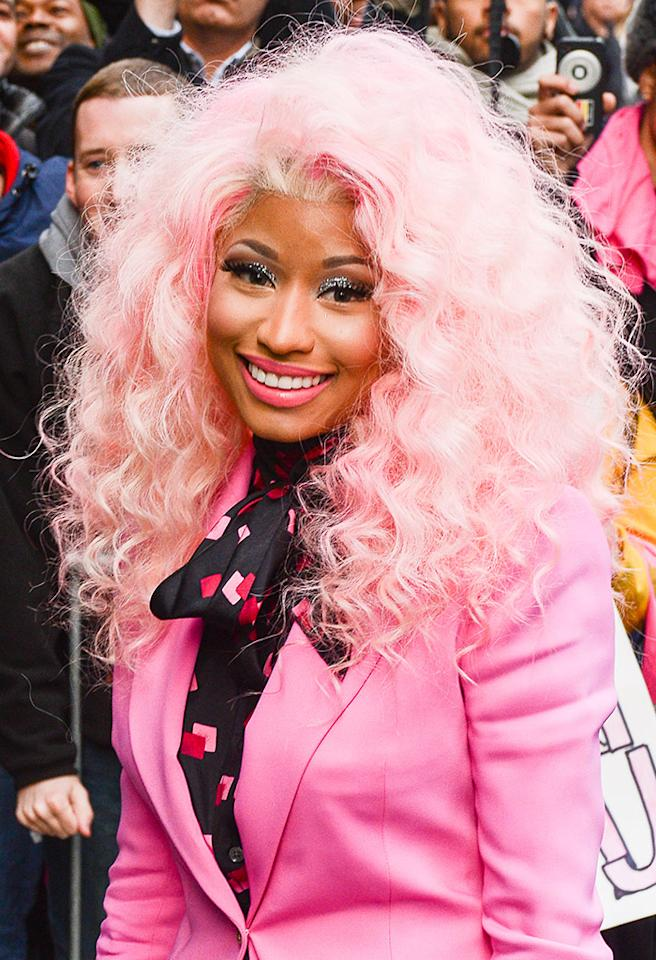 """NEW YORK, NY - NOVEMBER 20:  Rapper Nicki Minaj enters the """"Good Morning America"""" taping at the ABC Times Square Studios on November 20, 2012 in New York City.  (Photo by Ray Tamarra/Getty Images)"""