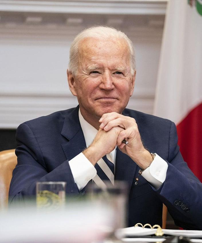 U.S. President Joe Biden listens while meeting virtually with Andres Manuel Lopez Obrador, Mexico's president, not pictured, in the Roosevelt Room of the White House in Washington, D.C., U.S., on Monday, March 1, 2021. Lopez Obrador will ask Biden for help getting vaccines against Covid-19, as one of the nations hardest hit by the pandemic struggles to inoculate its population. Photographer: Anna Moneymaker/The New York Times/Bloomberg via Getty Images