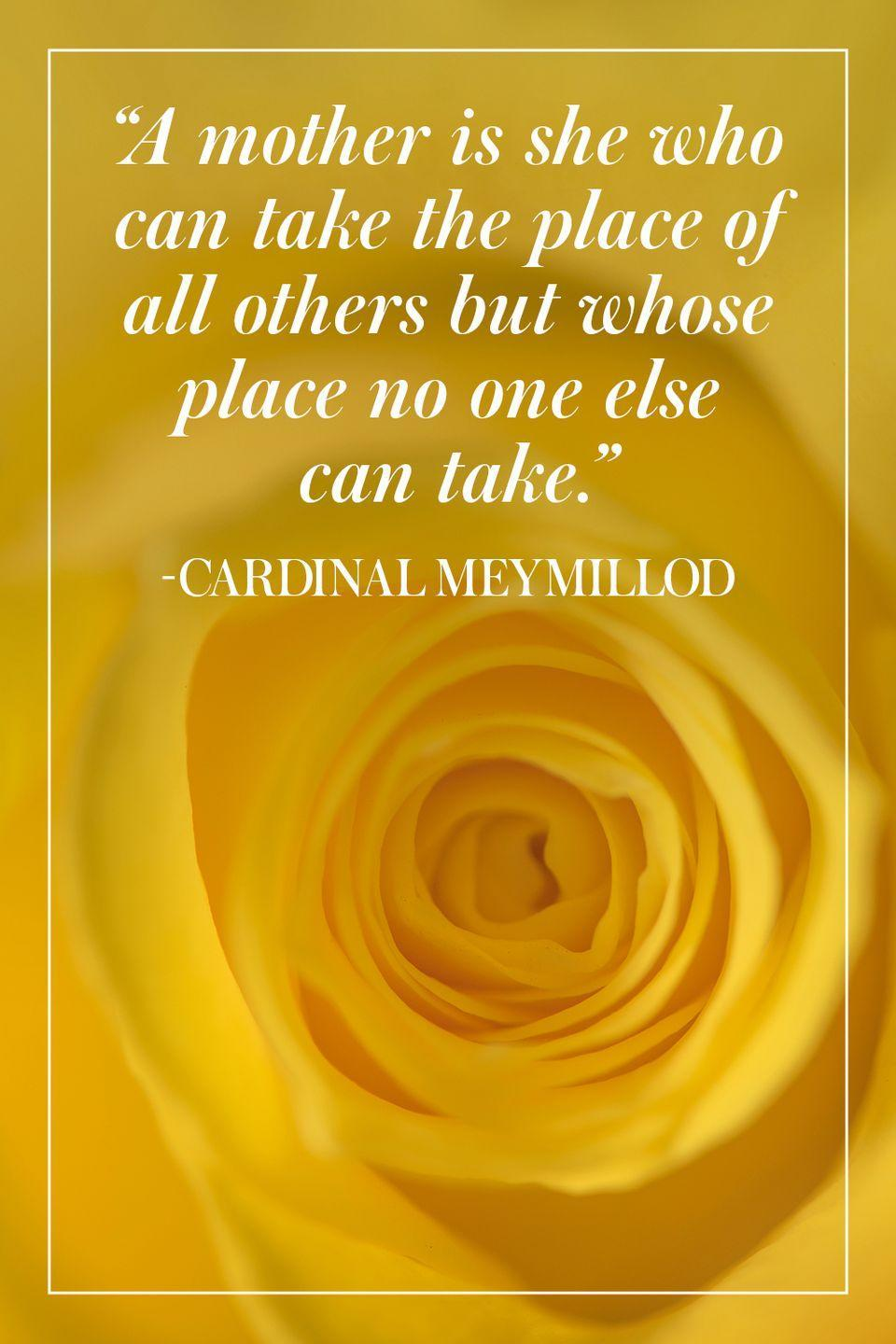 """<p>""""A mother is she who can take the place of all others but whose place no one else can take.""""</p><p>- Cardinal Meymillod</p>"""