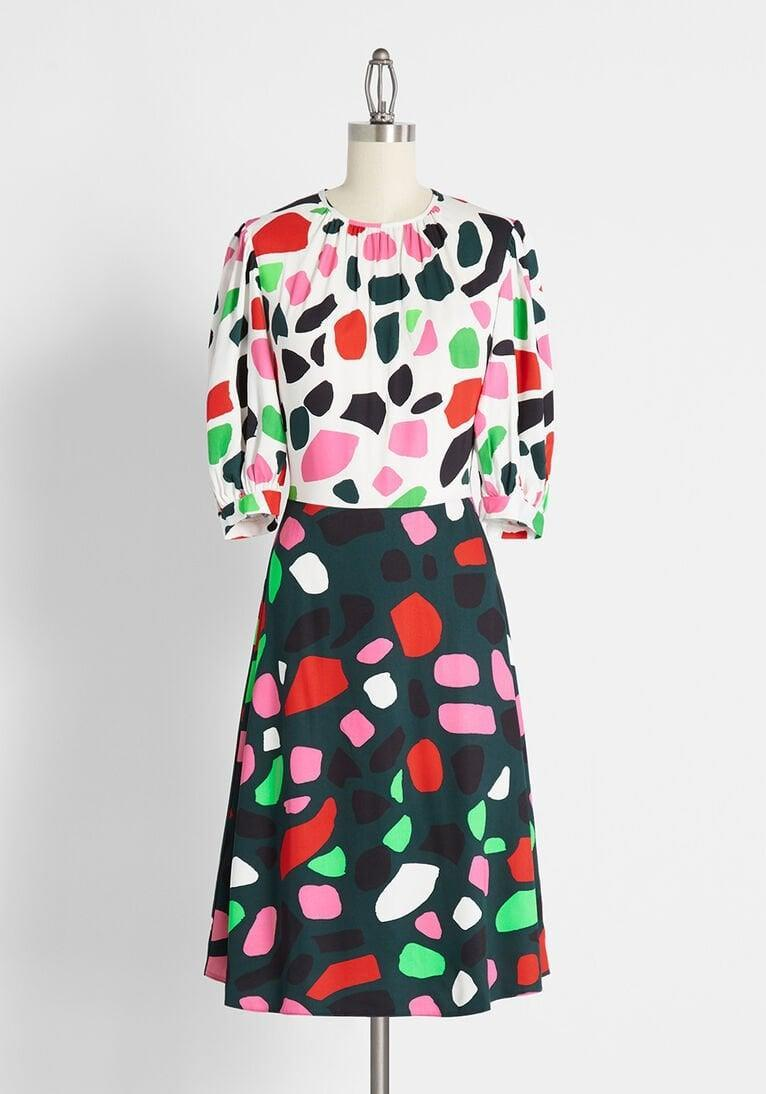 <p>For pops of color, go for this <span>Blot Till You Drop A-line Dress</span> ($119).</p>