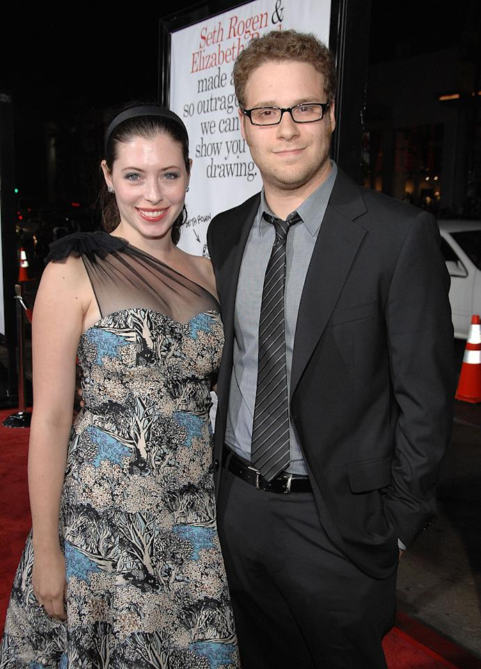 """<a href=""""http://movies.yahoo.com/movie/contributor/1804494942"""">Seth Rogen</a> and girlfriend Lauren Miller at the Los Angeles premiere of <a href=""""http://movies.yahoo.com/movie/1809958867/info"""">Zack and Miri Make a Porno</a> - 10/20/2008"""