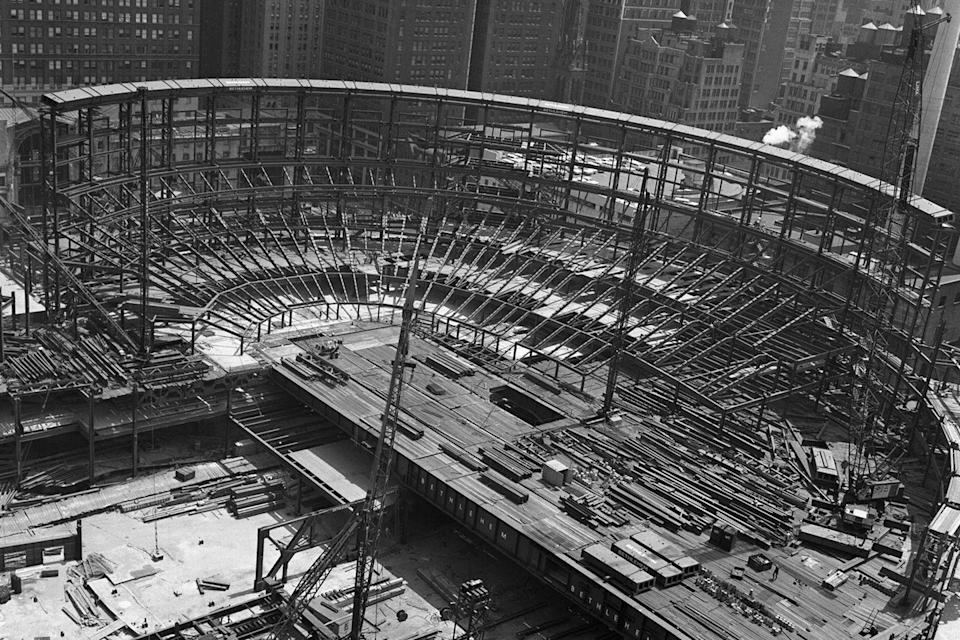 <p>The beginning stages of Madison Square Garden as it starts to rise over Pennsylvania Station. </p>