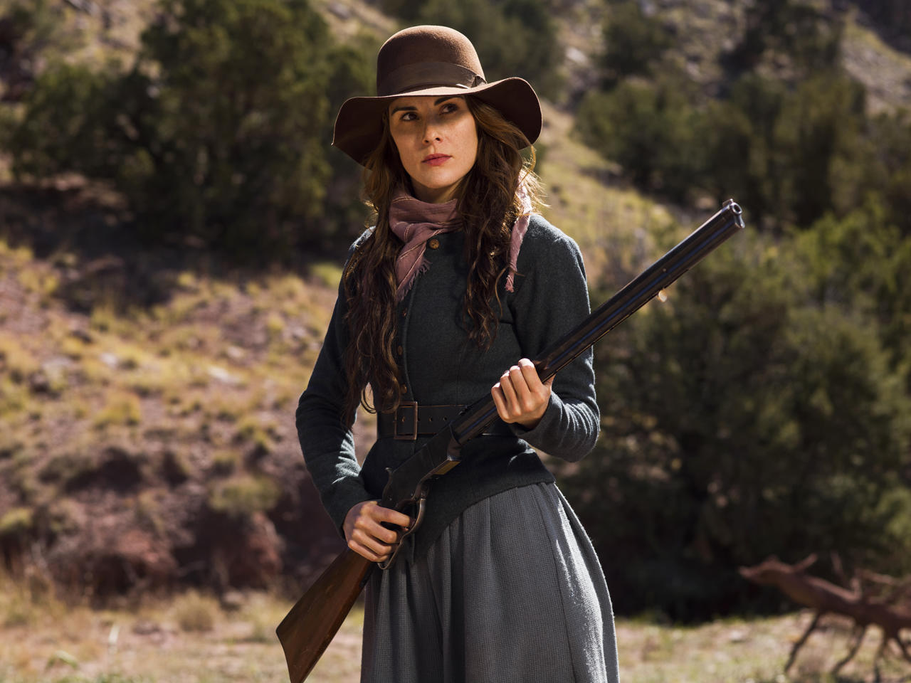 <p>Strong and independent, widow Alice Fletcher's first response when a wounded man shows up at the ranch where she lives with her teen son and Paiute Indian mother-in-law is to shoot at him. But she allows him to stay, at first so he can heal, but then because he proves himself useful.<br /> (Photo: James Minchin/Netflix) </p>