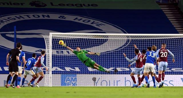 Martinez produced a stunning save from Dan Burn in the first half
