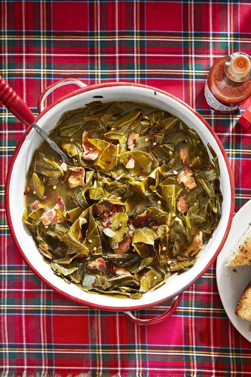 "<p><span class=""redactor-unlink"">Add some flavor to these dark, leafy veggies with garlic, onion, and loads of crispy bacon.</span></p><p><strong><a href=""https://www.countryliving.com/food-drinks/recipes/a45271/braised-greens-recipe/"" rel=""nofollow noopener"" target=""_blank"" data-ylk=""slk:Get the recipe"" class=""link rapid-noclick-resp"">Get the recipe</a>.</strong></p><p><a class=""link rapid-noclick-resp"" href=""https://go.redirectingat.com?id=74968X1596630&url=https%3A%2F%2Fwww.wayfair.com%2FVictoria--Victoria-12-Skillet-SKL212-L785-K%7EBCTO1019.html&sref=https%3A%2F%2Fwww.countryliving.com%2Ffood-drinks%2Fg896%2Fthanksgiving-side-dishes%2F"" rel=""nofollow noopener"" target=""_blank"" data-ylk=""slk:SHOP SKILLETS"">SHOP SKILLETS</a></p>"