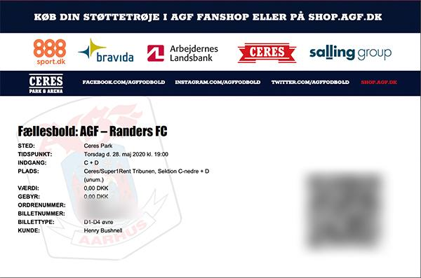 """Each fan will receive a ticket to attend the """"virtual"""" game. (Courtesy of AGF Aarhus)"""