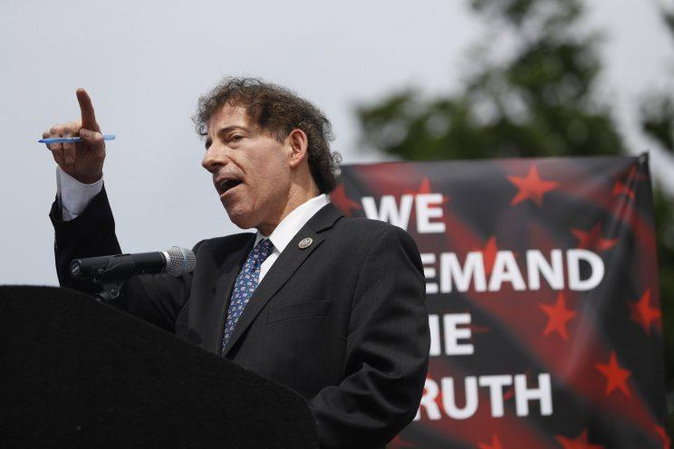 """Rep. Jamie Raskin, D-Md., speaks at the """"March for Truth"""" protest in Washington, D.C."""