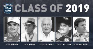 Jeff Gordon, Davey Allison, Alan Kulwicki, Jack Roush and Roger Penske have been elected to the NASCAR Hall of Fame Class of 2019.