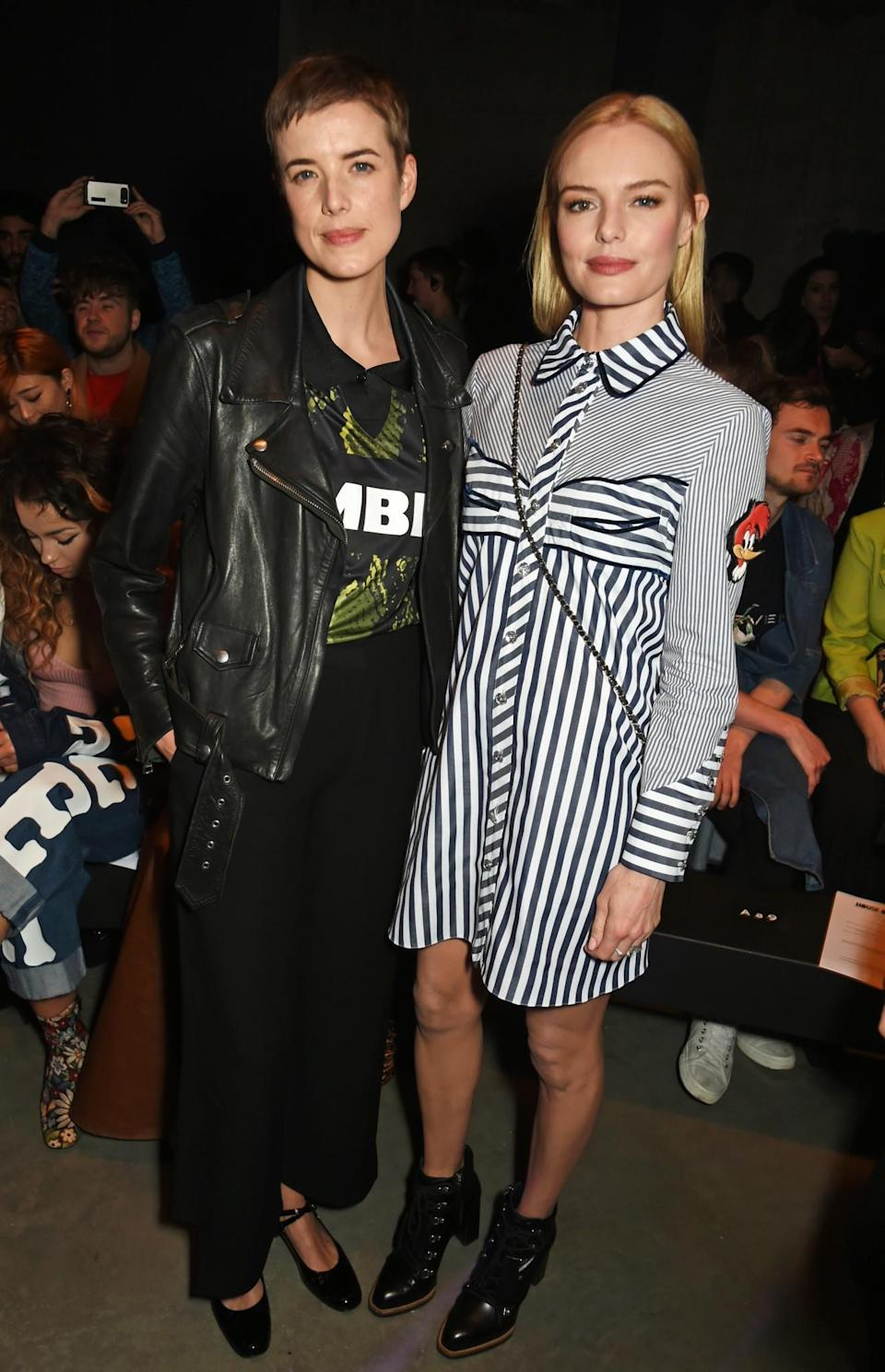 <p>Agyness Deyn made a return to Fashion Week alongside Kate Bosworth in a shirt dress from the new collection. <i>[Photo: Getty]</i> </p>