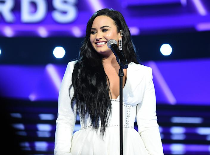 Demi Lovato (pictured at the Grammys in January) posted photos of herself in a swimsuit during lockdown. (Photo: John Shearer/Getty Images for The Recording Academy)