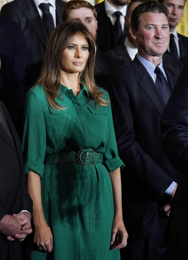 Melania's muslin shirtdress costs $450. (Photo: Getty Images)