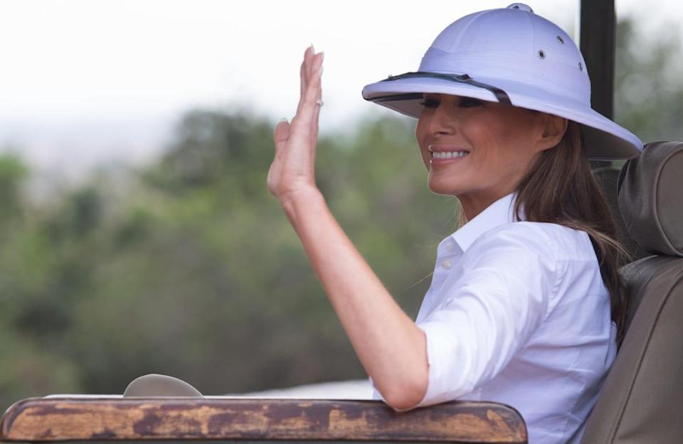 """<div class=""""inline-image__caption""""><p>Melania Trump waves as she travels in a vehicle while on a safari at The Nairobi National Park in Nairobi on Oct. 5, 2018.</p></div> <div class=""""inline-image__credit"""">SAUL LOEB/AFP via Getty Images</div>"""