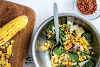 """Grilled corn, fresh mint, toasty hazelnuts, and salty pecorino: it may sound like an odd combination, but it may just be the most delicious thing at your next backyard barbecue. <a href=""""https://www.epicurious.com/recipes/food/views/corn-salad-with-hazelnuts-pecorino-and-mint?mbid=synd_yahoo_rss"""" rel=""""nofollow noopener"""" target=""""_blank"""" data-ylk=""""slk:See recipe."""" class=""""link rapid-noclick-resp"""">See recipe.</a>"""