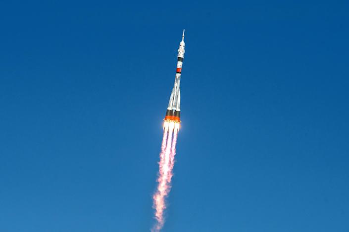 Image: The Soyuz MS-17 spacecraft carrying the crew formed of Kathleen Rubins of NASA, Sergey Ryzhikov and Sergey Kud-Sverchkov of the Russian space agency Roscosmos blasts off to the International Space Station (ISS) from the launchpad at the Baikonur Co (Andrey Shelepin/GCTC/Russian space agency / Reuters)