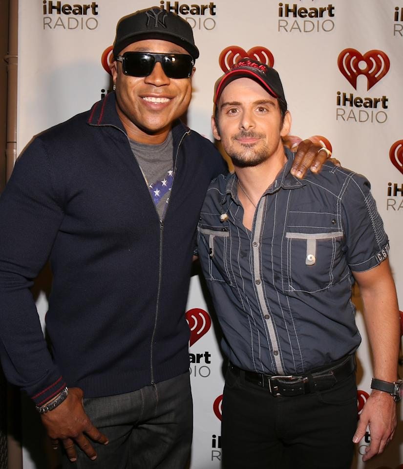 Actor/rapper LL Cool J (L) and recording artist Brad Paisley appear backstage during the 2012 iHeartRadio Music Festival at the MGM Grand Garden Arena on September 22, 2012 in Las Vegas, Nevada.  (Photo by Christopher Polk/Getty Images for Clear Channel)