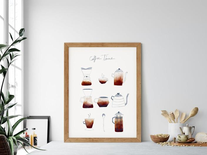 Coffee Time Poster. Image via Etsy.