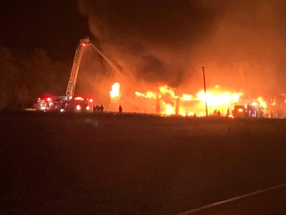 The OPP released this image of a fire in Kingsville on Sunday. (OPP - image credit)